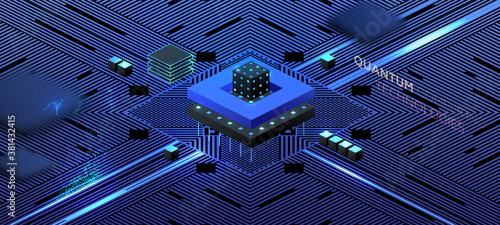 Artificial intelligence and robotic quantum computing processor isometric concept for business technology, engineering and innovations design Canvas Print