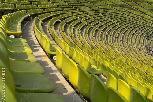 Fotografie, Obraz endless rows of enpty chairs in a stadium