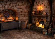 3D Rendering Medieval Fantasy Cottage