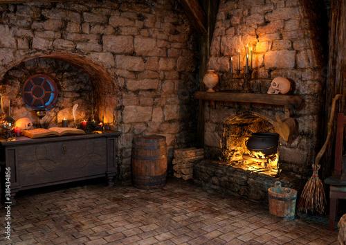 Foto 3D Rendering Medieval Fantasy Cottage