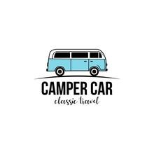Vintage Classic Camper Van,car Logo Design Vector