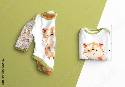Fototapeta Baby Vest Long Sleeves Folded Mockup obraz