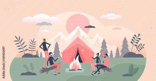 Campfire or fireplace camping adventure with friends tiny persons concept Fotobehang