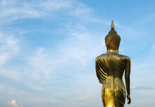 Focus On Standing Golden Statu...