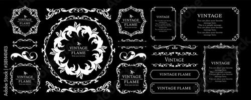 Obraz 高級感のあるフレームデザイン、カリグラフィー素材、ラグジュアリー、テンプレート、【コピースペース】 - fototapety do salonu