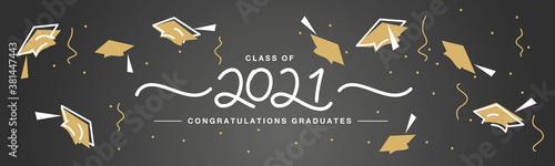 Class of 2021 handwritten typography lettering Congratulations graduates line de Canvas