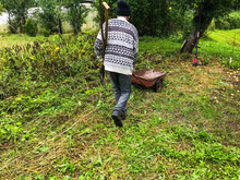 A Gardener In A Warm, Gray, Woolen Sweater Walks Through The Plot With A Cart. Metal Trolley For Transporting Crops, Manure, Earth. Garden Care