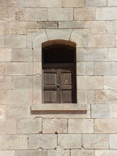 Old Isolated Wooden Brown Window With Lock