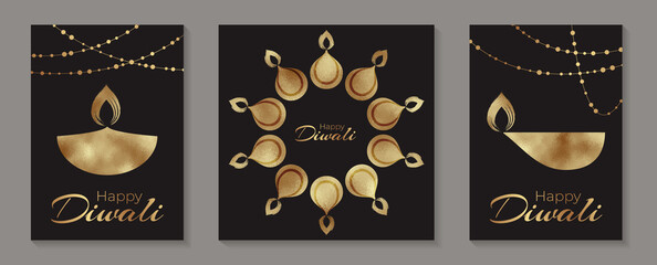 Happy Diwali greeting cards templates wuth golden lamps or candles and garlands on a black background.