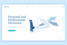 Professional Decision, Solution And Choice Isometric Landing Page. Business Man Stand On Crossroads Choose Correct Way For Career Opportunity, Job Or Life Path, Solve Problem 3d Vector Web Banner