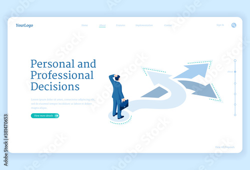 Professional decision, solution and choice isometric landing page Fototapeta