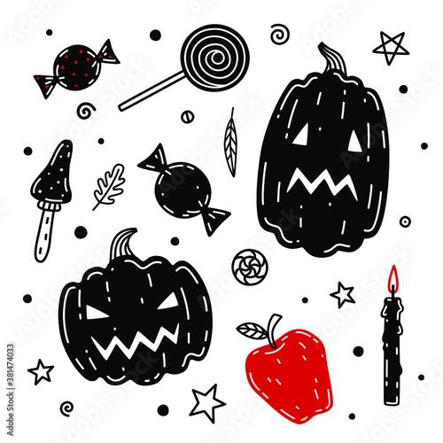 Pumpkin, mushroom, candies, apple, candle hand drawn vector illustration Canvas Print