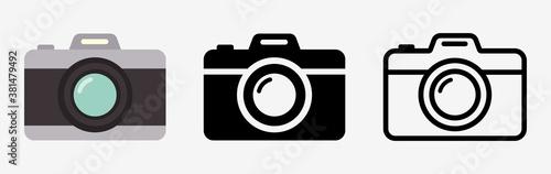 Obraz Camera icon set. Photo camera in flat style. Vector - fototapety do salonu