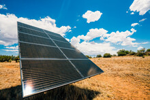 Solar Panels In The Desert Wit...