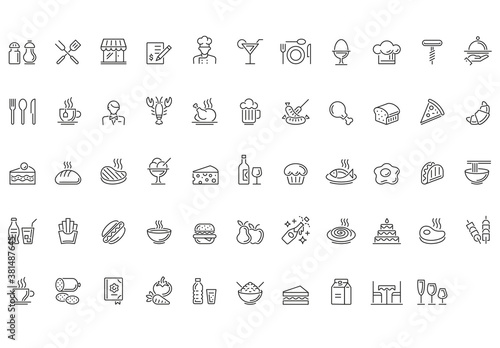 Food and Drinks Outline Icon Set