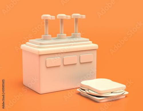 white plastic condiment dispenser in yellow orange background, flat colors, sing Wallpaper Mural