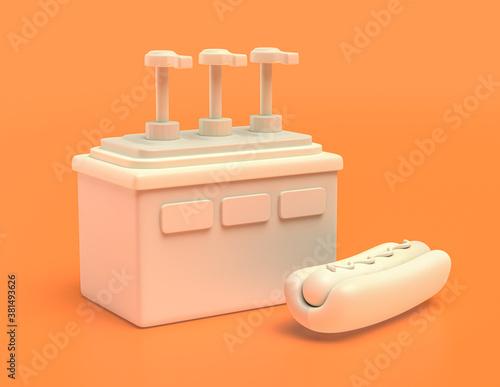 white plastic condiment dispenser in yellow orange background, flat colors, sing Canvas Print