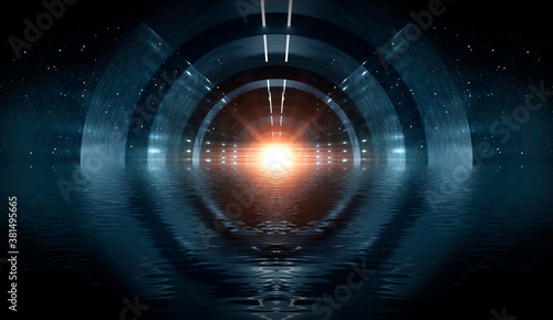Round tunnel, neon light, reflection in the water. Abstract futuristic modern neon background. 3D illustration.
