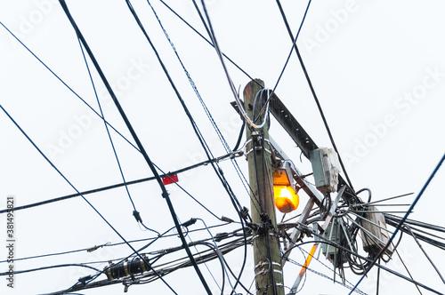Tela Public lighting pole in a popular neighborhood in the city of Medellin Colombia