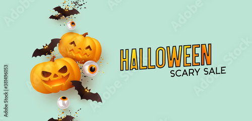 Happy Halloween Background realistic pumpkins and bats. Halloween scary sale. vector illustration