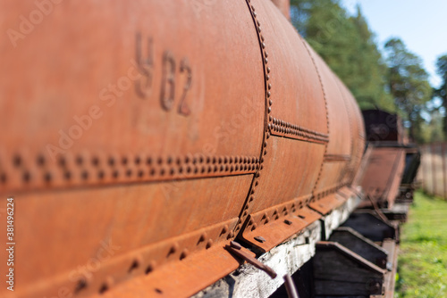 Cuadros en Lienzo railway metal tank with rivets