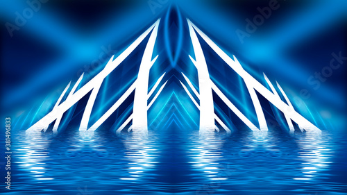 Dark tunnel light, neon light, reflection in water. Abstract futuristic modern neon background. 3D illustration.