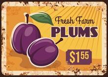 Plums Rusty Metal Plate, Fruit...
