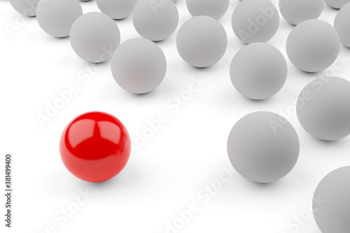 Obraz na plátně Single red ball standing out from the crowd of white spheres, leadership, standi