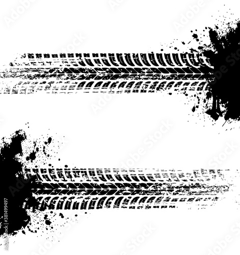 Tire prints, car tyre tracks isolated grunge vector marks. Offroad auto or bike race, vehicle wheels trace with abstract dirty spots. Monochrome brush stroke pattern, graphic texture, design elements