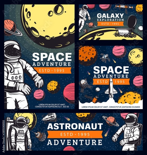 Obraz na płótnie Astronaut space adventure, cosmonaut in outer space retro vector banners