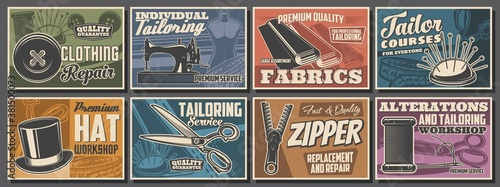 Fototapeta Sewing and tailor shop posters, atelier tailoring fashion and textile craft, vector dressmaking salon