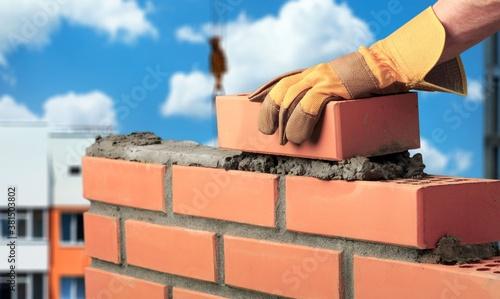 Bricklayer build cement masonry layer Fototapet