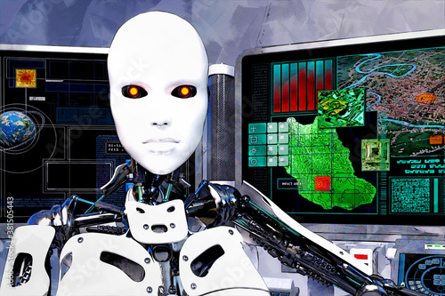 Photo 3D Illustration of a female Robot