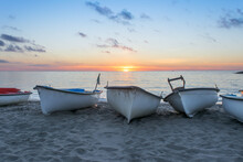 A Group Of Fishing Boats On Th...