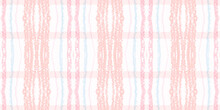 Watercolour Pink Check. Beige Picnic Pattern.