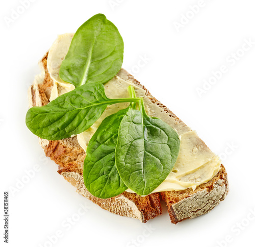 Fotomural breakfast sandwich with spinach leaves
