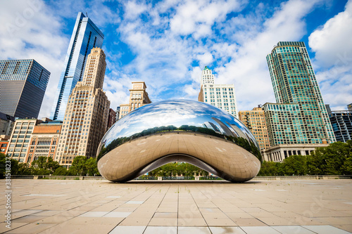 Chicago, IL / USA - 8/28/2020: Famous Cloud Gate Chicago bean landmark at day nobody around