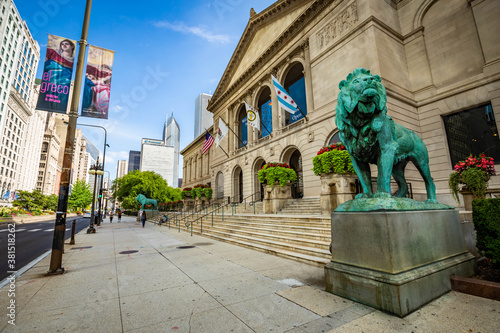 Chicago, IL / USA - 8/28/2020: Art Institute of Chicago Exterior view with lions