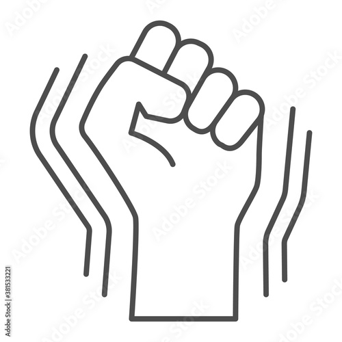 Photo Raised fist gesture thin line icon, Black lives matter concept, Human hand up BLM sign on white background, Fist raised up icon in outline style for mobile concept, web design