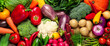 Many fresh different vegetables as background, top view. Banner design