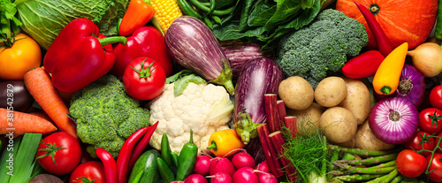 Fototapeta Many fresh different vegetables as background, top view. Banner design obraz