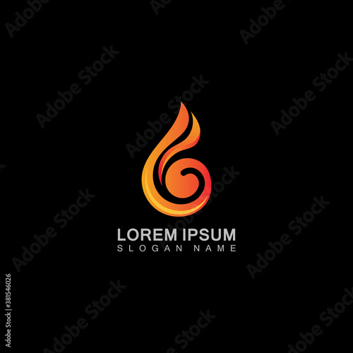 Vector Fire Flame element Illustration Logo, template creative symbol business Wallpaper Mural