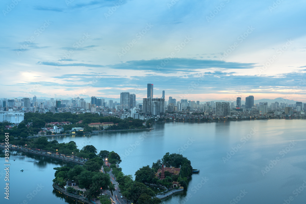 Fototapeta Aerial view of Hanoi skyline at West Lake or Ho Tay. Hanoi cityscape at twilight