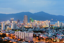 Da Nang City Skyline Cityscape With Buildings By Beach At Twilight In Da Nang, Central Vietnam