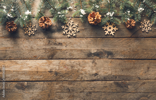 Fototapeta Beautiful Christmas composition on wooden background obraz