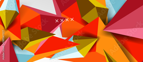 Photo 3d low poly abstract shape background vector illustration