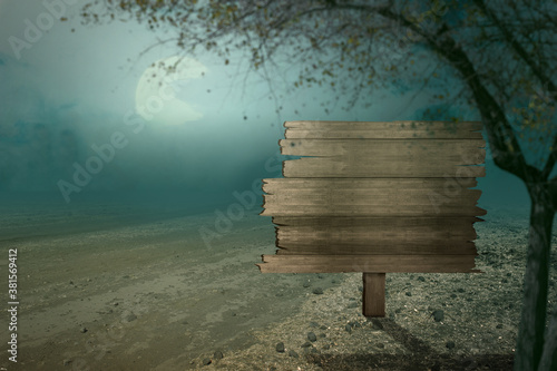 Fototapeta Blank wooden sign on the field with fog obraz