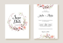 Cherry Blossom Flowers Wedding Invitation, Save The Date Card Template. Watercolour Style.