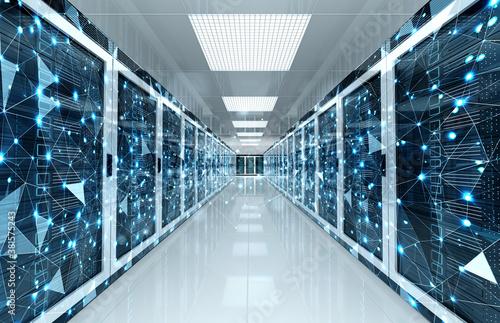 Obraz na plátně Connection network in servers data center room storage systems 3D rendering