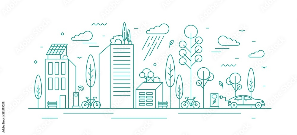 Fototapeta Modern city with ecological infrastructure and vehicles, roof greening, solar panels and electrical car charger. Green vector line art monochrome illustration of eco cityscape with alternative energy